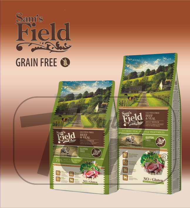 SAM'S FIELD GLUTEN FREE ADULT  MEDIUM BEEF & VEAL
